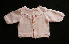 Baby clothes GIRL 0-3m lovely soft pink handmade knit cardigan SEE MORE IN SHOP!
