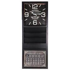 French Vintage Shabby Chic Style Wall Clock & Calendar Black Distressed Finish