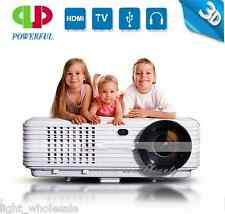 Home Cinema 3500 Lumen Multimedia HD LED Projector 1080P HDMI USB TV Film DVD 3D