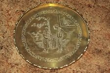 Vintage Oriental Round Heavy Brass Tray Engraved 10 inches Scenic Woman & Man