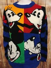 Vtg Walt Disney Colorblock Warhol Inspired Sweater Mickey Minnie Goofy Medium
