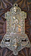 "Antique Victorian Brass Dick Wittington Plaque 12"" by 7"""