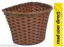 Childrens Bike Basket - Brown Wicker Effect - Free Delivery