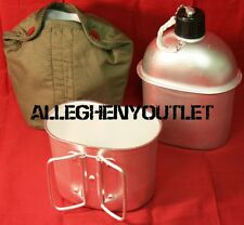 3 Pc Military Type 1QT 32 oz HEAVY GUAGE ALUMINUM CANTEEN w ALUMINUM CUP & COVER