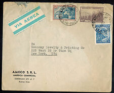 ARGENTINA 1952  AIR MAIL ADVERTISING COVER* BUENOS AIRES TO NEW YORK, NY USA