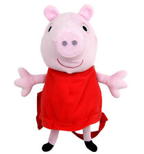 "Peppa Pig 14"" Canvas Pink & Red Plush Backpack"