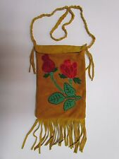"""NATIVE AMERICAN BEADED HIDE PURSE """"RED ROSE"""" DESIGN - 10 INCHES X 6 1/2 INCHES"""