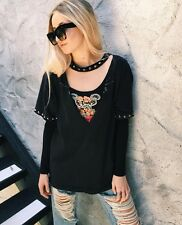 LF vintage furst of kind v neck graphic top with studded choker NWT OS