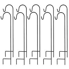 Ashman Black Shepherd Hook 48 Inch 10 Pack, Rust Resistant Steel Hooks Ideal For