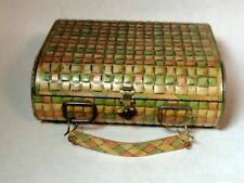 Antique vtg HUNTLEY PALMERS Art Nouveau BISCUIT TIN Handbag Basketweave PURSE