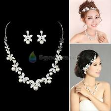 Rhinestone Crystal Pearl Necklace + Earring Jewelry Set for Bride Bridal Wedding