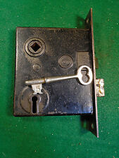 VINTAGE PENN MORTISE LOCK with KEY - CIRCA 1900 JAPANNED FACE PLATES (5608-A)