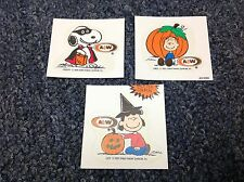 Set of 3 Witch Lucy Linus Pumpkin Snoopy A & W Peanuts Halloween sticker cards