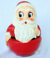 Vintage Roly Poly Santa Clause Christmas Decoration Big Blue eyes Rattle Toy