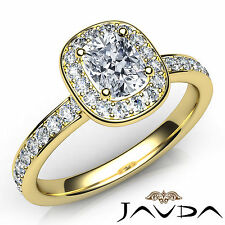 Cushion Diamond Engagement Halo Pave Ring GIA F Color SI1 18k Yellow Gold 1.09Ct