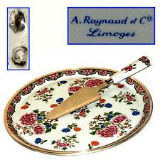 GRAND PLAT  LIMOGES CERCLEE ARGENT MINERVE + PELLE A TARTE MODELE CHINE XVIIIeme