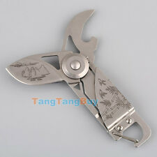 Outdoor Multi Function Bottle Opener Keychain Camping Folding Pocket Knife Tool