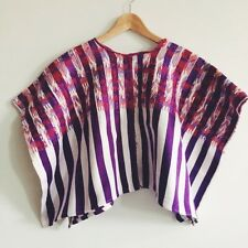 VTG Guatemala Huipil Shirt Purple White Striped Handwoven 70s Sacatepequez