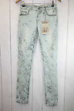 Cream Tulle Jeans- Coco Stretch W 29  Blumen Light blue Denim Vintage Nieten Neu