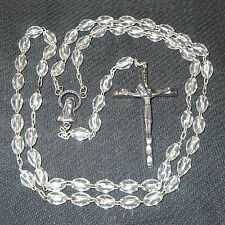 "Clear plastic bead rosary 19"" B22"