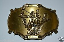 Vintage Deer Bow Hunter Tree Stand 3D Brass Belt Buckle Raintree Arrows Hunting