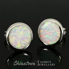 ROUND SHAPE LAB WHITE FIRE OPAL INLAY SILVER SF JEWELRY STUD EARRINGS