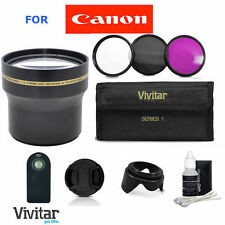 58MM 3.7X TELEPHOTO ZOOM LENS +REMOTE + HOOD+ FOR CANON REBEL 7D 6D 60D X2 XTI