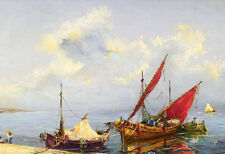 Oil painting seascape Fishing boats by beach landscape canvas free shipping cost