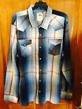 Levis Western Shirt Blue Plaid ChecKs Pearl Snap Buttons Mens Long Sleeve XXL