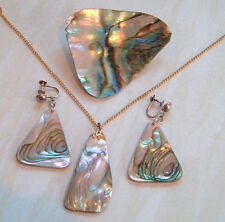 Lot Vintage Abalone Paua Shell Jewellery Drop Silver Earrings Pendant Brooch