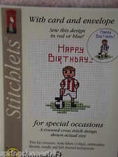 MOUSELOFT STITCHLETS CROSS STITCH KIT ~ LITTLE FOOTBALLER ~ CARD & ENVELOPE