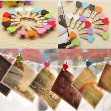 10 * corazón clavija de madera albúm Photo Clips colgante Decoración Pared Hogar