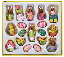 EASTER DECORATION 18 PCS WOODEN 3D ASSORTED SHAPES EGGS, BUNNY... 3CM SEALED