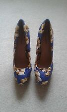 LADIES ATMOSPHERE BLUE FLORAL WEDGE SHOES SIZE 6