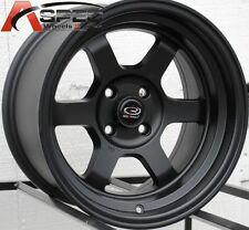 15X8 ROTA GRID-V WHEELS 4X100 FLAT BLACK RIMS +0 AGGRESSIVE FITS MIATA INTEGRA