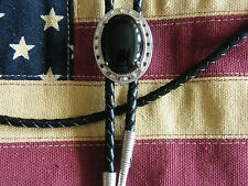 NEW GENUINE BLACK ONYX STONE OVAL BOLO TIE  LEATHER CORD SILVER  METAL WESTERN