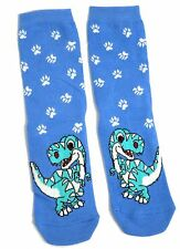 LADIES BLUE T REX DINOSAUR SOCKS UK SIZE 4-8 EUR 37-42 USA 6-10