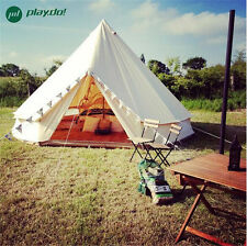 5M  Beige Waterproof Cotton Canvas Family Camping Bell Tent Outdoor Beach