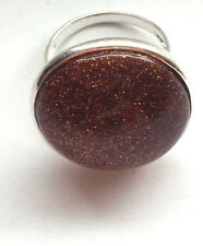 Solid 925 Sterling Silver Ring 22 U 1/2 10 1/2 Large Brown Oval Glitter Sparkle