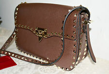 New $2645 Valentino Garavani Rockstud Flap Leather Messenger Bag CACAO