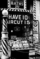 Barbershop & Tattoo Parlor Poster, Shave, Bath, The Bowery 1930's, New York City