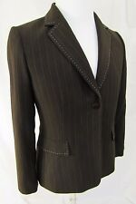 TAHARI Brown w Blue Pinstripe Women's Pant Suit Blazer - 10 P Petite - NEW NWOT