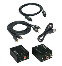 Analog zu Digital Audio Konverter + 0,7m Toslink + 2,5m Cinch Kabel + USB-Kabel