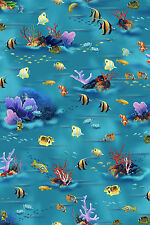 Dolphin Island Ocean scenic BTY cotton Screen Printed Clown Fish Coral