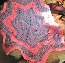 Hand-Made CROCHETED STAR-Shaped AFGHAN for BABY in BRIGHT Pink COLORS