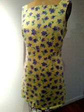 LILLY PULITZER  yellow dress sheath purple violets/cotton-linen  SIZE 10