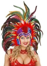 Multi Feather Cabaret Mardi Gras Showgirl Burlesque Indian Headdress Fancy Dress
