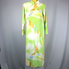 AO DAI Size M Women Traditional Vietnamese Long Dress Long Sleeve Green Yellow