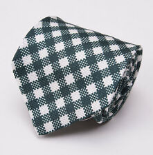 NWT $295 KITON NAPOLI Dark Green-White Gingham Check Silk Tie Handmade