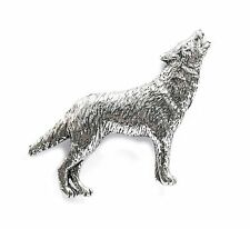 WOLF peltro pin badge/Spilla Fauna Selvatica Animale collare bavero Cappello Cravatta